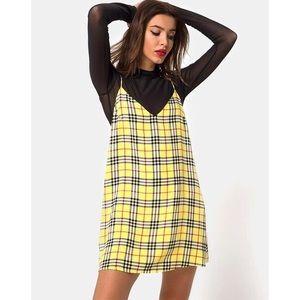 NWT Motel Rocks Sanata Yellow Check Slip Dress.